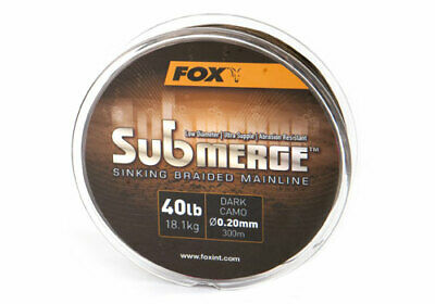 Fox Submerge Sinking Braid Dark Camo Braided Fishing Main Line • 69.99£
