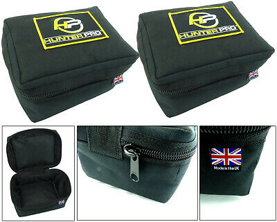 2 X Large Padded Fishing Reel Case. Hunter Pro British Made High Quality • 19.99£