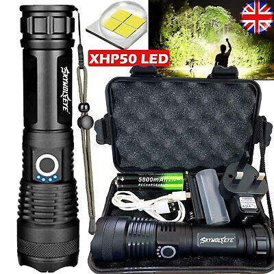High Power 900000Lumens XHP50 Zoom Flashlight LED Rechargeable Torch Headlamp • 13.98£