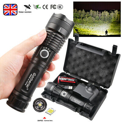 900000LM High Power Xhp50 Led Zoom Flashlight Rechargeable Camping Hiking Torch  • 15.85£
