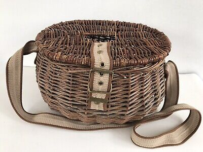 Vintage Wicker Fishing Basket Creel Webbing Shoulder Strap Picnic Vgc • 25.99£
