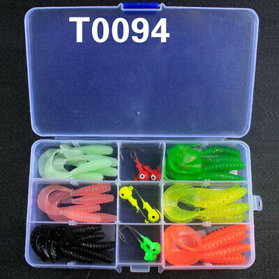 36Pcs Fishing Soft Plastic Lures Bait Curly Tail Grub Worm Bait Jig Heads Tackle • 6.89£