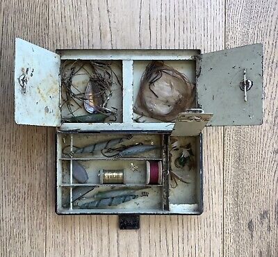 Vintage Metal Fishing Box For Hooks, Flies, Weights Box With Some Contents • 3.53£