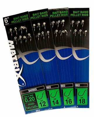 """Fox Matrix 6""""  Bait Band Pellet Rig Barbed Coarse Fishing Ready Tied Hooklengths • 2.99£"""
