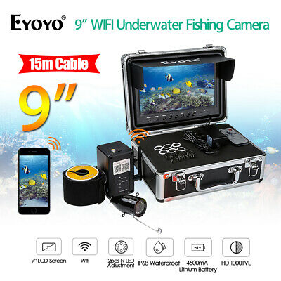 9 Inch 15M 2.4G Wireless Wifi Underwater Fishing Camera Fish Finder Take Photos • 140.99£