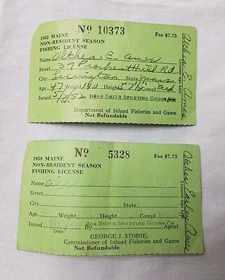 Vintage Lot 2 Maine Non-Resident Season Fishing License 1950 1952 Paper Licenses • 15.77£