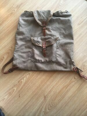 Vintage  Canvas & Leather Fitted Fly Fishing Bag Rucksack  1950  VGC • 10£