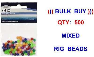500 Mixed 5mm Rig Beads For Coarse Boat Sea Fishing Line Rigs Lures Bait Stops • 5.60£