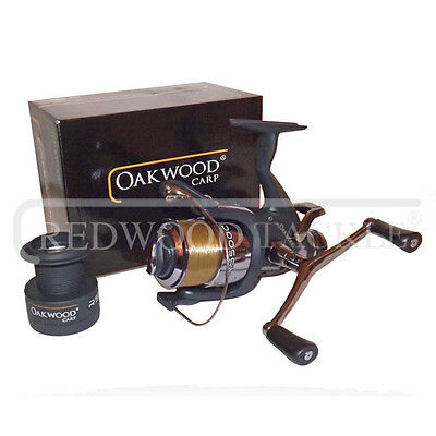 NEW Double Handle Deluxe Oakwood BTR/Free Spool Fishing Carp Reel + Line • 16.17£