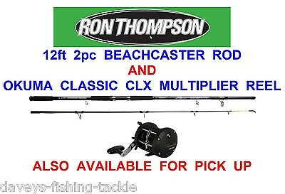 RON THOMPSON 12FT BEACHCASTER ROD+OKUMA CLASSIC CLX 200La MULTIPLIER REEL • 69.99£