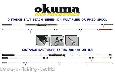Okuma Distance Salt Surf Beachcaster Rod Series Sea Beach Fishing 12 14 Or 15 Ft • 89£