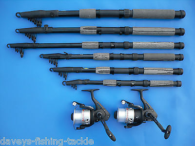 2 CARBON TELESCOPIC RODS+OKUMA ATOMIC 160 REELS 6,7,8,9,10,12 Ft SPINNING TRAVEL • 35.95£