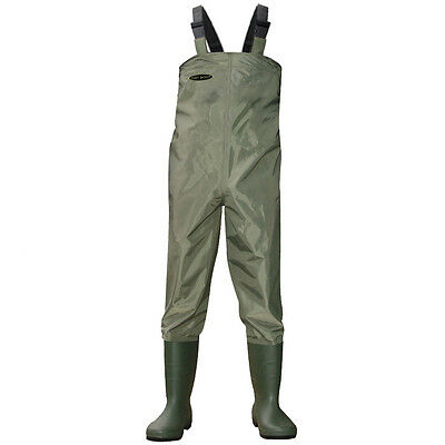 Green Nylon Chest Waders 100% Waterproof Fly Coarse Fishing Muck Wader • 34.99£