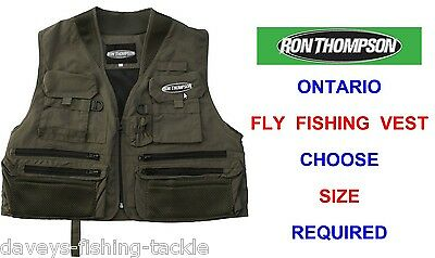 Ron Thompson Ontario Fly Vest Waistcoat Wading Game Trout Fly Rod Fishing Jacket • 25.90£