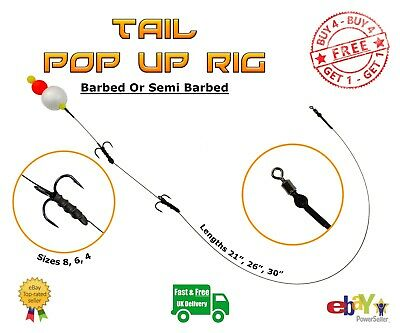 Tail Pop Up Wire Trace BUY 4 GET 1 FREE Pike Carp Fishing Dead Bait • 3.05£