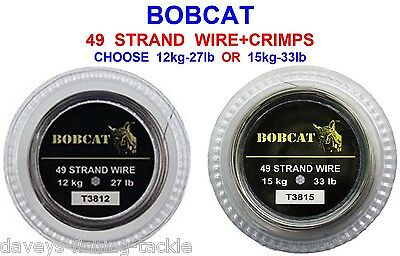Bobcat 49 Strand Wire+crimps For Pike Fishing Spinning Trace Traces Snap Tackle • 9.40£