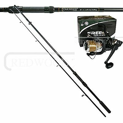 OAKWOOD 10ft Carp Stalker Fishing Rod & 3BB Freespool/BTR Reel With Line • 35.26£
