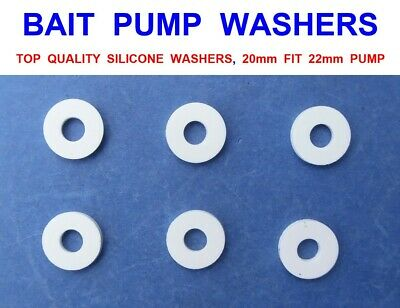 6 SILICONE BAIT PUMP WASHERS 20mm FIT 22mm SLIM LINE PUMPS ALVEY LUGWORM RAGWORM • 6.90£