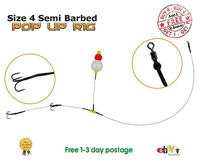 No. #4 Semi-Barbed Pop Up Wire Trace BUY 4 GET 1 FREE Pike Fishing Dead Bait Rig • 3.10£