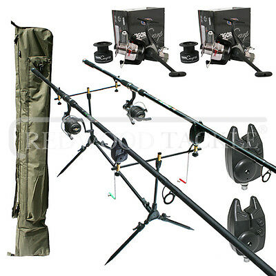 Carp Fishing Set Up Lineaeffe 2 Rods Reels Bite Alarms Holdall Rod Pod • 103.95£