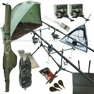 Full Carp Fishing Set Up Shelter Bivvy 2 Rods Reels Bag Alarm Holdall Net NGT • 143.27£