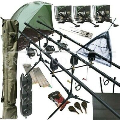 Mega Carp Fishing Set Up Kit Rods Reels Rigs Alarms Bait Tackle Tools Mat   • 169£