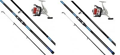 2 X 14ft BEACHCASTER ROD AND REEL SET BEACH CASTER RODS 14ft 20lb LINE ON REELS • 72.23£