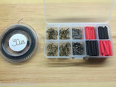 Pike/Game Fishing Trace Making Kit.Over 200 Pieces + A 10 Section Tackle Box. • 8.49£