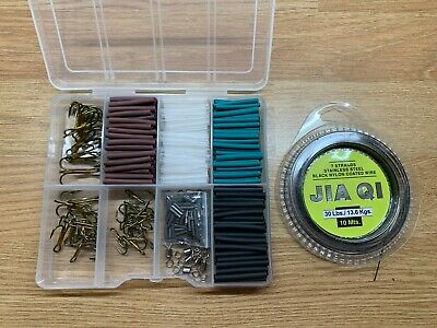 30lb Pike & Game Fishing Trace Making Kit.300 Pieces + A 10 Section Tackle Box. • 9.99£