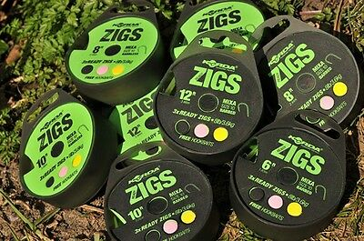 NEW Korda Ready Tied ZIG RIGS Carp Fishing Rig  *FULL RANGE* • 5.45£