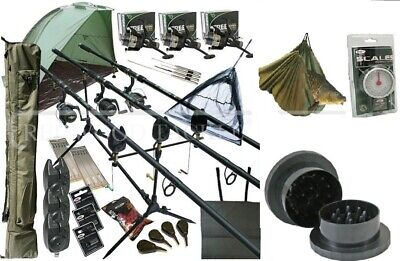Full Carp Fishing 3 Way Set Up Rods Reels Alarms Rod Holdall Bivvy Loads Tackle • 179.50£