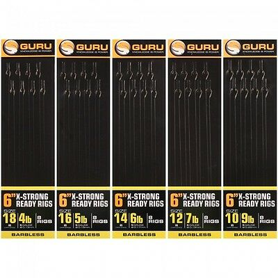 GURU X - Strong 6  Ready Tied Rigs Carp Spade 8 Rigs Per Pack • 3.39£
