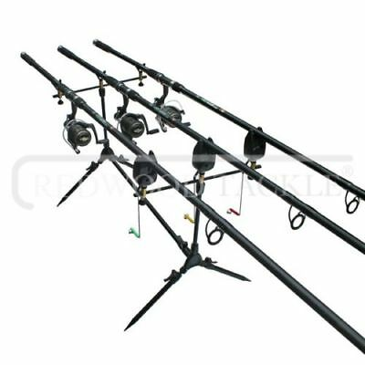 Carp Fishing Set Up 3 X 12ft Carp Rods + 3 X Carp Reels + 3 X Bite Alarms + Pod • 113.01£