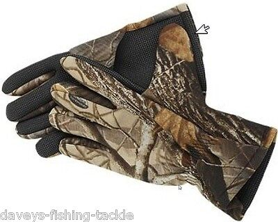 Clearance Fladen Realtree Camo Neoprene Gloves Fishing Hunting Shooting Camping • 10.95£