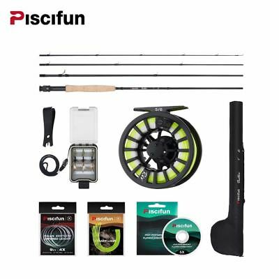 Aluminum 5/6 Fly Reel 2.7m Carbon Rod Fly Line/Backing Line/9 PCS Flies/Tackle B • 126.74£