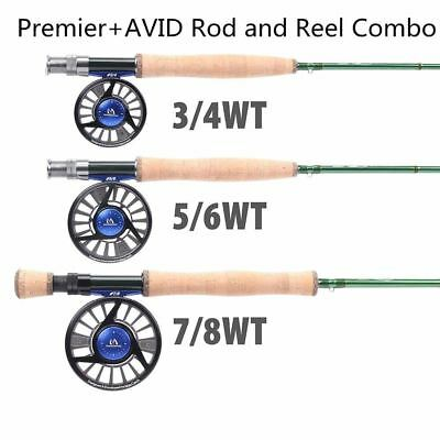 9FT 3/4/5/6/7/8 WT Carbon Fly Rod With Aluminium Machined Fly Reel Fly Fishing C • 156.74£