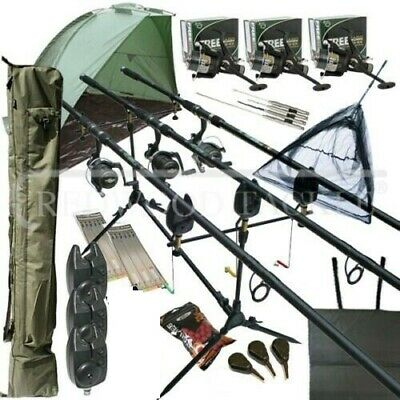 Mega Carp Fishing Set Up Kit 3PC Rods Reels Rigs Alarms Bait Tackle Tools Mat   • 179£