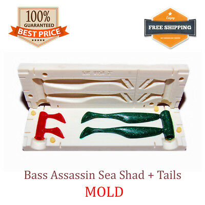 Bass Assassin Sea Shad + Tails 2-cavity Fishing Bait Mold DIY Lure 75 Mm 3  • 38.47£