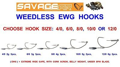 Savage Gear Weedless Ewg Hooks For Sandeel Real Eel 4play Cannibal 3d 4d Shads • 6.35£