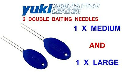 YUKI DOUBLE BAITING NEEDLE 2pc FOR SEA FISHING LUG RAG WORM SQUID CRAB BAIT TOOL • 5.75£