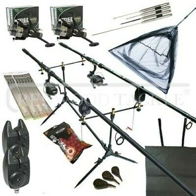 Carp Fishing Starter Set Up Kit Rods Reels Alarms Pod Bait Net Tools Mat + More  • 112.85£