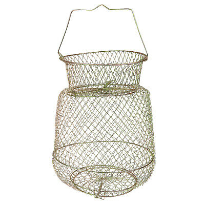 Collapsible Steel Wires Fish Basket Shrimps Crab Cages 25cm - Gold • 8.52£