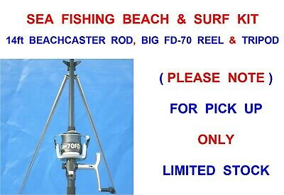 SEA FISHING SET RON THOMPSON 14ft BEACHCASTER ROD+FD-70 REEL+LINE+PARKER TRIPOD • 67.99£