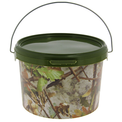 3 Litre NGT Round Camo Bucket With Metal Handle Bait Fishing Carp Storage Boilie • 5.99£