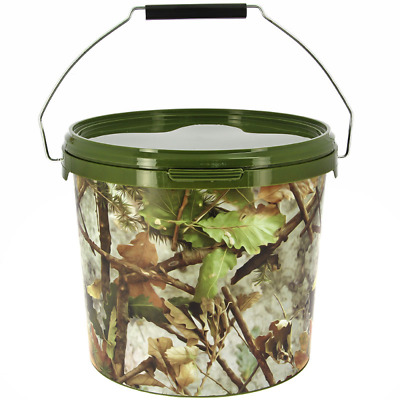 5 Litre NGT Round Camo Bucket With Metal Handle Fishing Bait Carp Boilies Coarse • 6.99£
