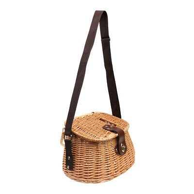 Wicker Creel Fish Basket Vintage Fisherman Traps Pouch Cage Tackles Case • 20.21£