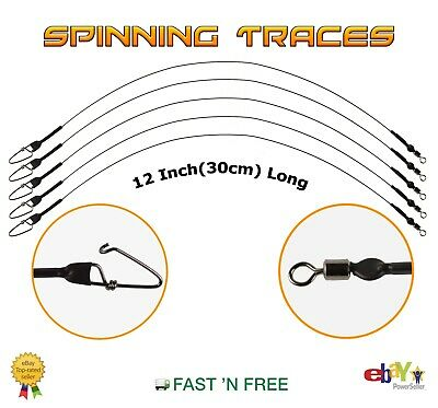 30cm Spinning Wire Traces 12 Inch --- Pike Rig --- Lure Fishing • 5.99£
