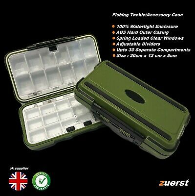 Waterproof Fishing Tackle Tray ABS Storage Box Shot Lures Flies • 5.95£