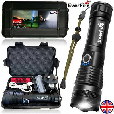 UK EVERFIRE CREE 900000LM XHP90 Zoom Flashlight LED Rechargeable Torch Headlamp • 13.98£