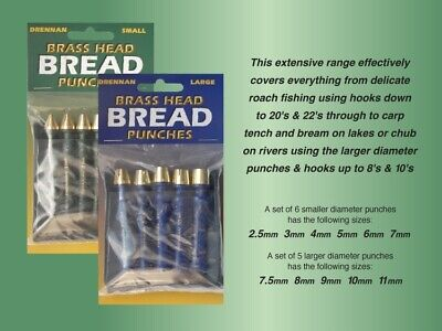 Drennan Brass Head Bread Punches Baiting Tools ALL SIZES • 10.95£
